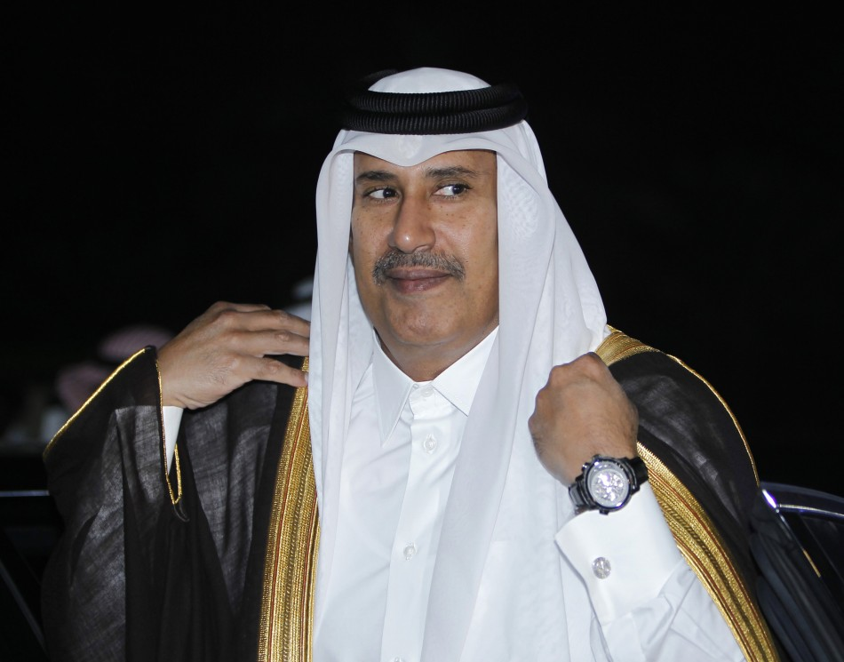 Qatar's Prime Minister Sheikh Hamad bin Jassim bin Jaber al-Thani arrives for a Gulf Cooperation Council (GCC) meeting in Riyadh