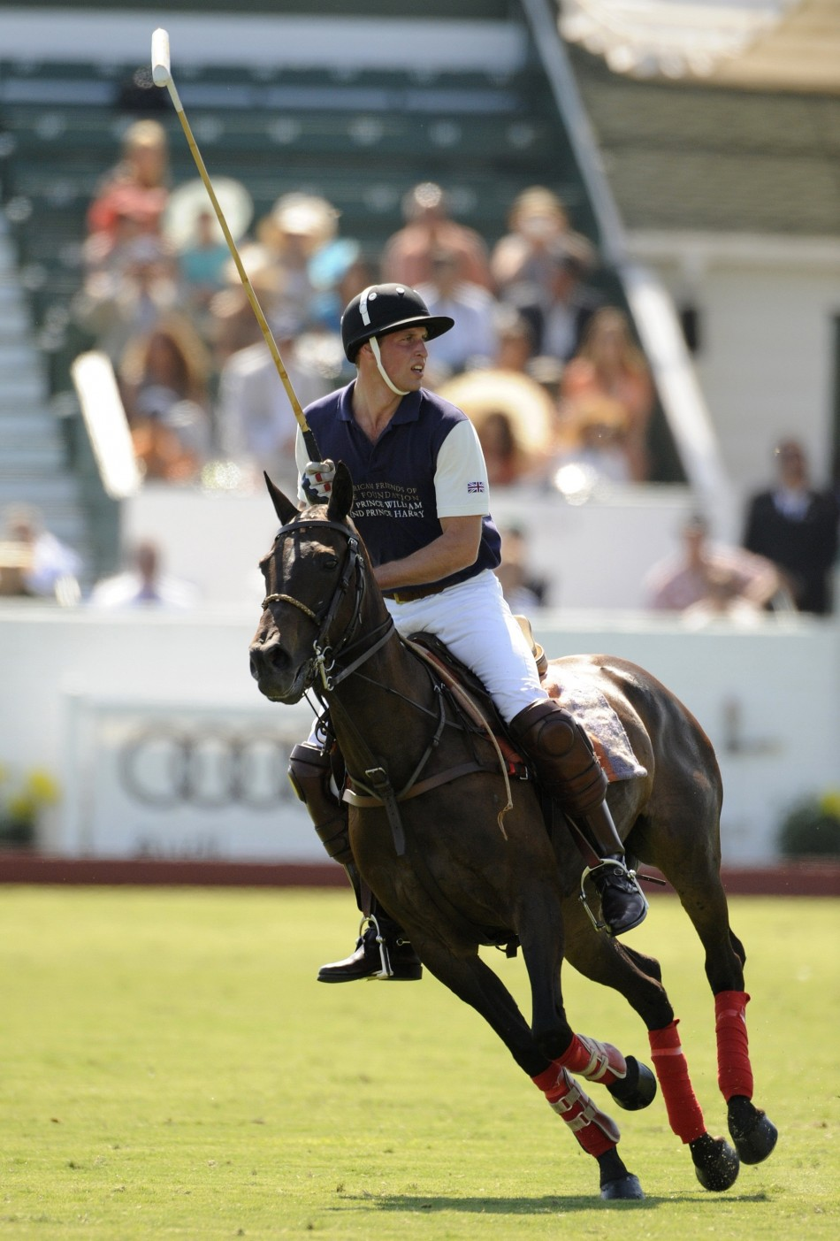 Prince William plays in a polo match at the Santa Barbara Polo and Racquet Club for a charity event held in support of the American Friends of The Foundation of Prince William and Prince Harry in Santa Barbara, California July 9, 2011