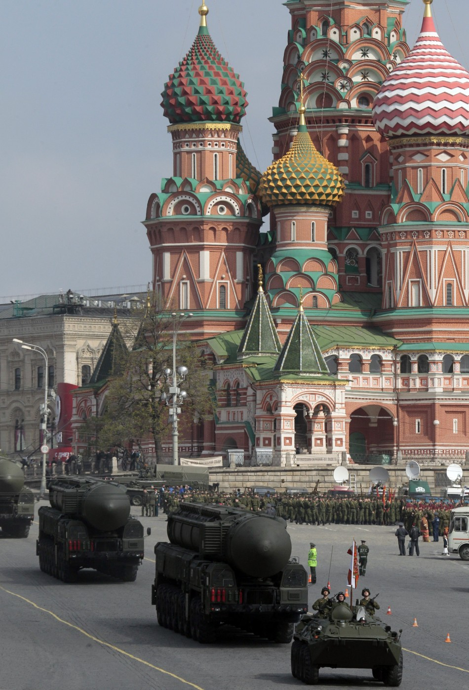 Russian Topol M ballistic missiles on launchers are seen during May Day parade rehearsals in front of St. Basil's cathedral on Moscow's Red Square May 7, 2011. Russia will celebrate the 66th anniversary of victory over Nazi Germany on May 9
