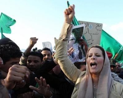 Aisha Gaddafi attending a pro-Gaddafi demonstration