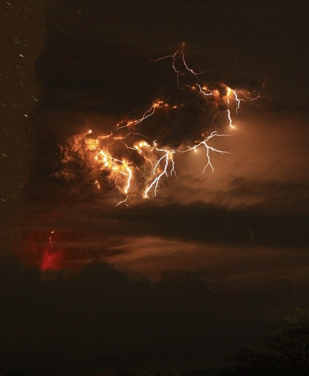 Lightning bolts strike around the Puyehue-Cordon Caulle volcanic chain in the Patagonia region