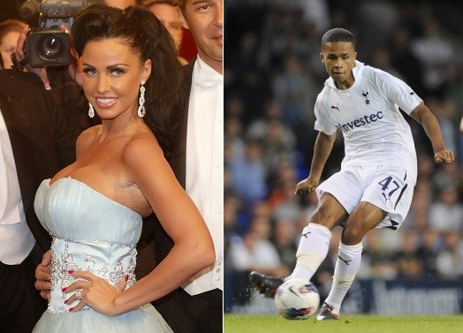 """The pair were seen celebrating after the Spurs demolished Bolton, 3-0. The 19-year-old soccer player who is """"just good friends"""" with Jordan was introduced to her by mutual friend Danny Cipriani."""