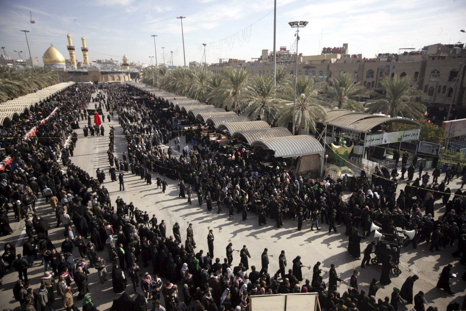 Shi'ite pilgrims take part in the preparations of the Ashura ceremony in Kerbala