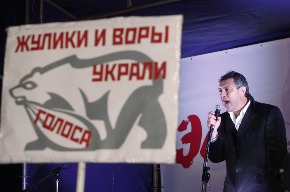 Opposition leader Boris Nemtsov speaks during an opposition protest in central Moscow December 5, 2011