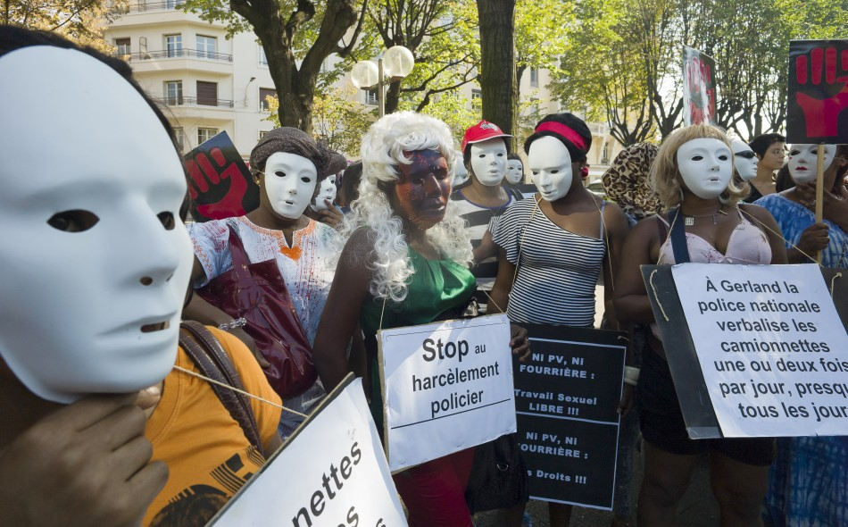 Prostitutes demonstrate to protest against their working condition in Lyon