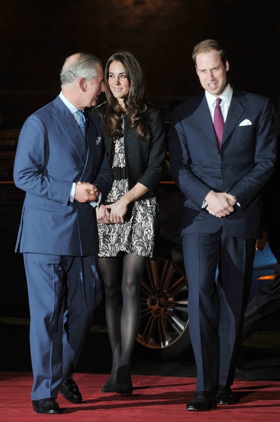 Britains Prince Charles, Prince William and Kate Middleton, Duchess of Cambridge