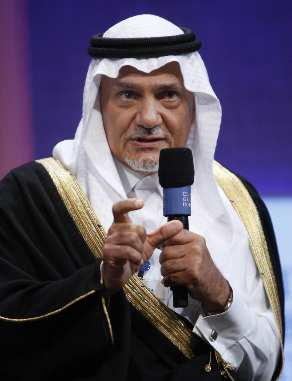 Prince Turki Al Faisal Al Saud of Saudi Arabia speaks during the Clinton Global Initiative in New York September 25, 2008. Established by former U.S. president Bill Clinton in 2005, the event is designed to bring donors together with people in need to try