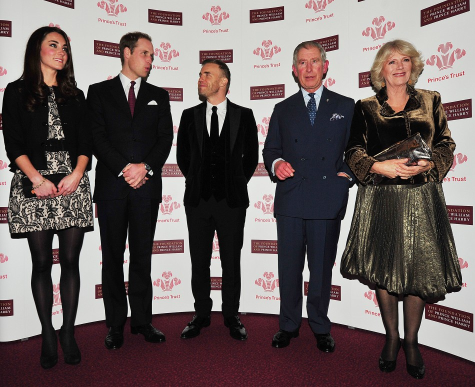 Britain's Prince William and Catherine, Duchess of Cambridge pose with singer Gary Barlow, Prince Charles and Camilla, Duchess of Cornwall ahead of a fund-raising concert at the Royal Albert Hall in London
