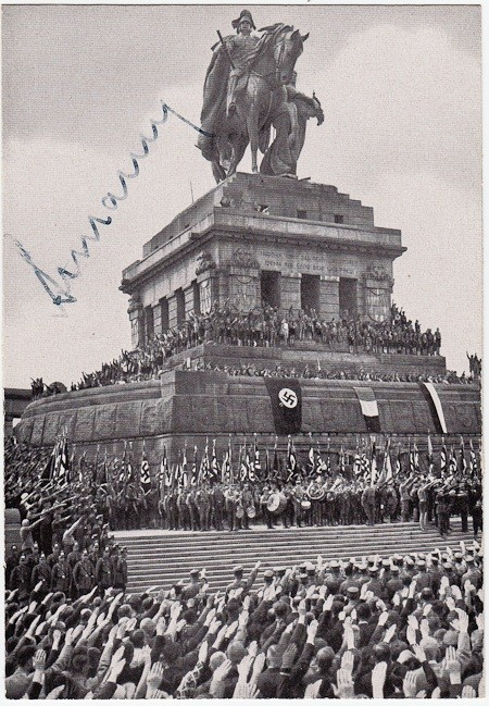 A photo of the Hitler Youth signed by their leader from 1940 to 1945 Arthur Axmann. Sold for $220