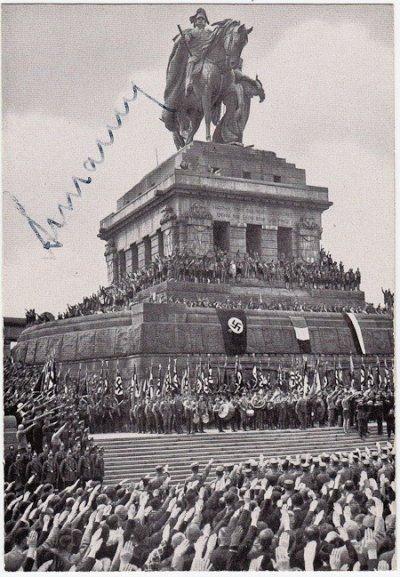 A photo of the Hitler Youth signed by their leader from 1940 to 1945 Arthur Axmann. Sold for 220