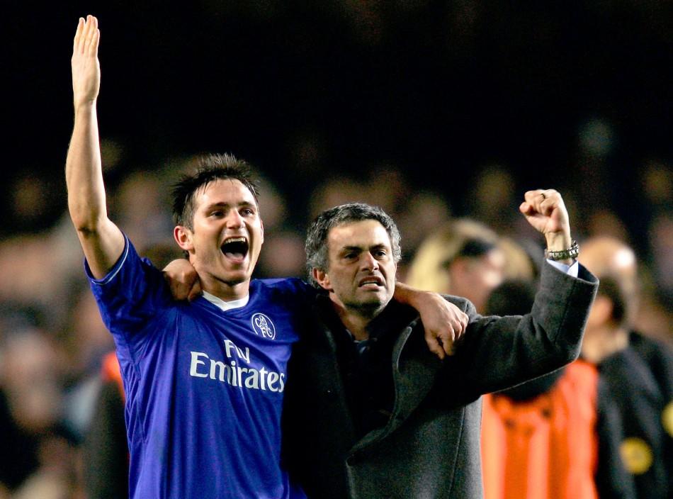 Frank Lampard with Jose Mourinho