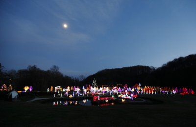 A country house estate in the village of Grabovnica is lit with 1.2 million Christmas lights