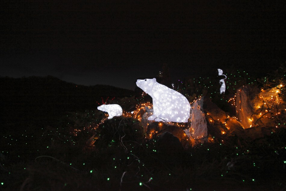 Lit up decorative bears are seen at a country house estate in the village of Grabovnica near Cazma