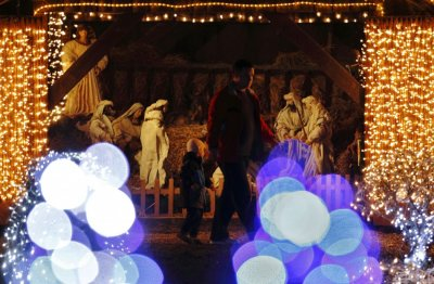 Lit up nativity scene is seen at a country house estate in the village of Grabovnica near Cazma