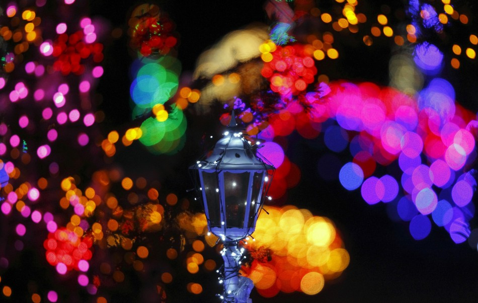 Colourful lights are seen at a country house estate in the village of Grabovnica near Cazma, central Croatia, December 10, 2011