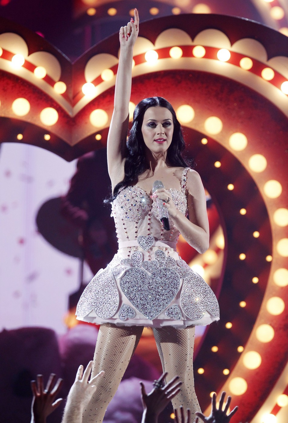 "Singer Katy Perry performs ""Teenage Dream"" at the 53rd annual Grammy Awards"