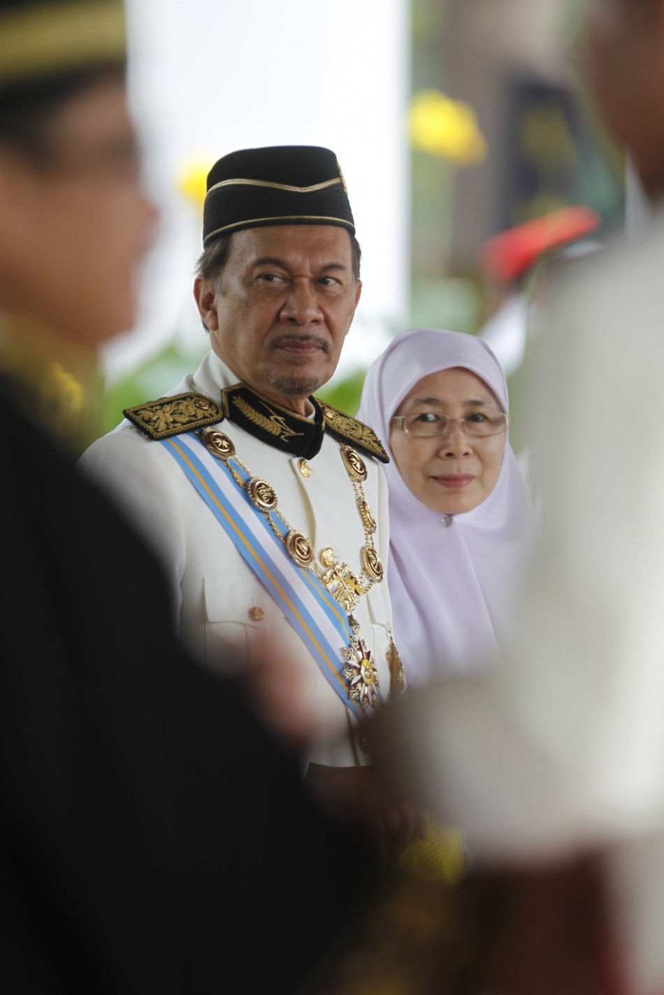 Malaysia's opposition leader Anwar Ibrahim and wife