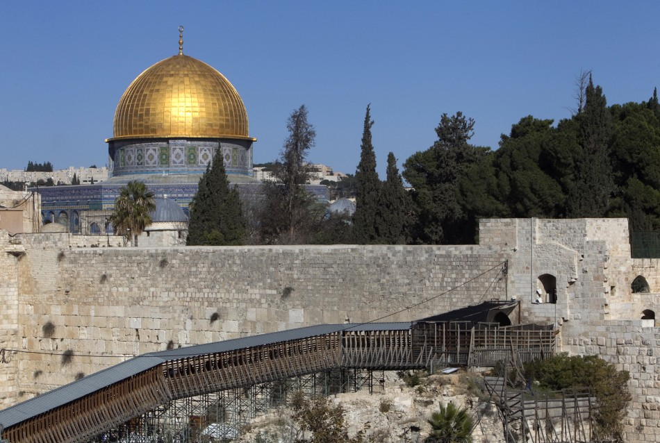 A wooden footbridge leading up from the Western Wall to the sacred compound where al-Aqsa mosque and the Dome of the Rock shrine stand, is seen in Jerusalem's Old City
