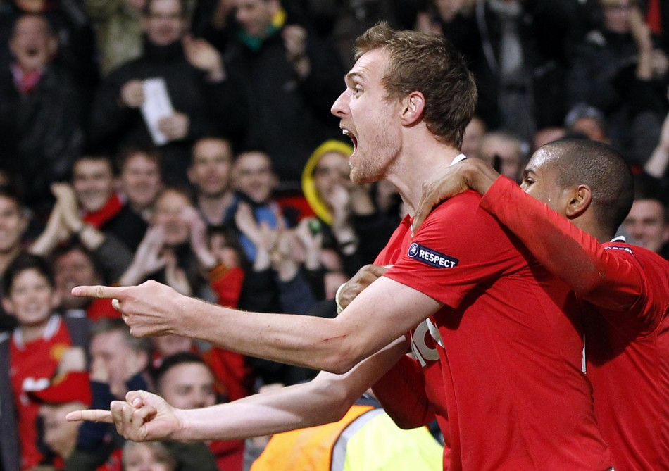 Manchester United's Fletcher celebrates his goal against Benfica during their Champions League soccer match