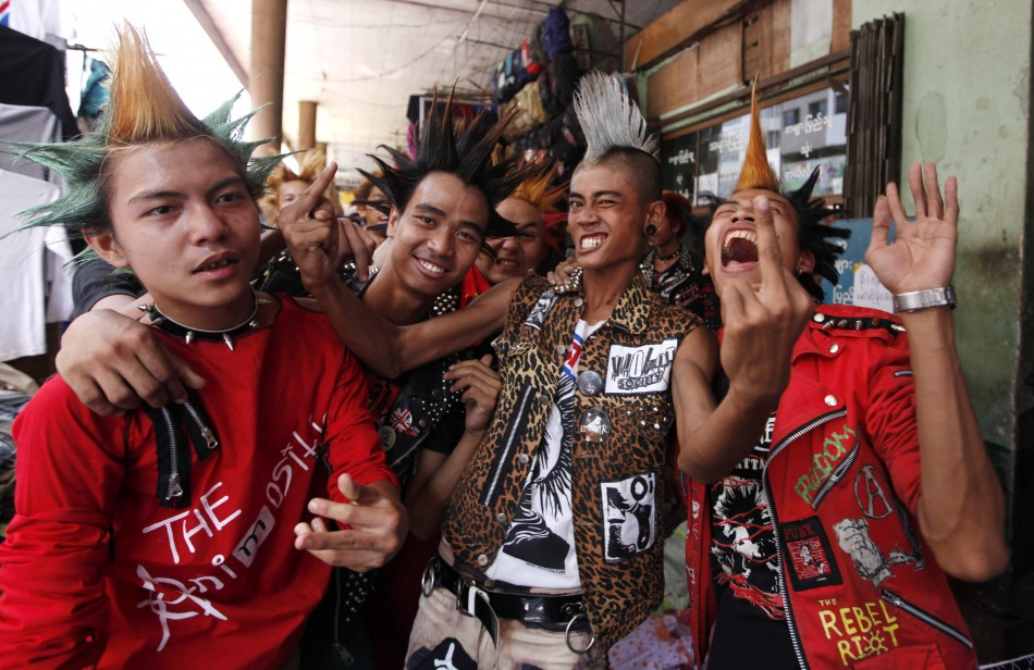 Revellers dressed in punk fashion celebrate Thingyan festival in Yangon