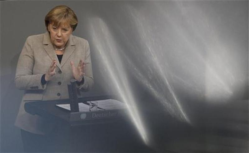 German Chancellor Merkel delivers speech at German lower house of parliament Bundestag in Berlin