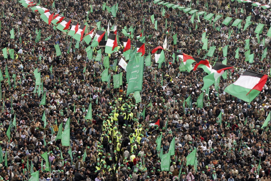 Hamas supporters attend a rally in Gaza City