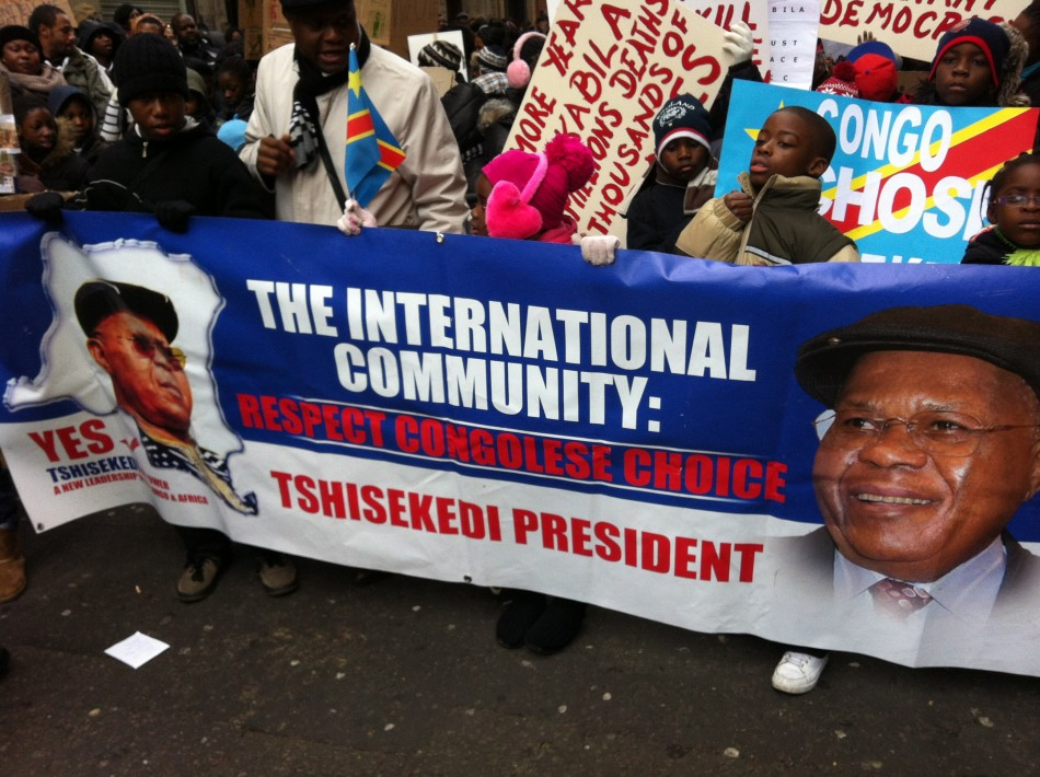 Crowds began to gather at around 11:00am outside the Congolese Embassy on Great Portland Street