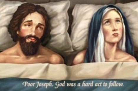 The Church's first ad campaign in 2009 saw Joseph in bed with Mary  Read more: http://www.dailymail.co.uk/news/article-2074105/Virgin-Mary-positive-pregnancy-test-Church-launches-controversial-ad-campaign-time-Christmas.html#ixzz1gar1bDKj