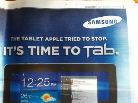 Galaxy tab advert