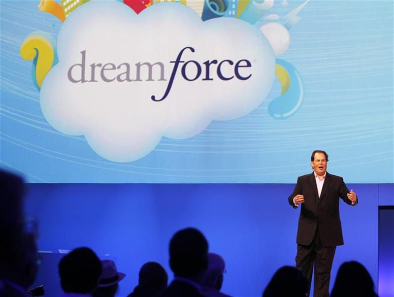 Salesforce CEO Marc Benioff walks speaks to the crowd during his keynote address at the Dreamforce event in San Francisco
