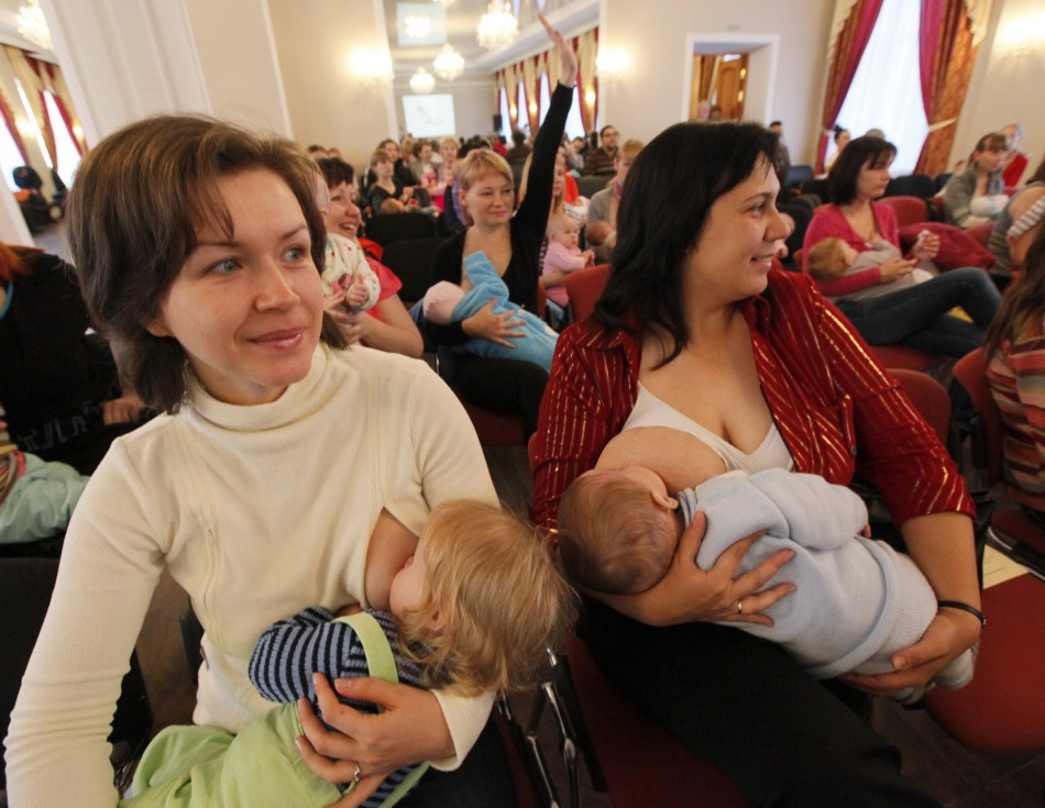 Mothers Breastfeeding during a Flash Mob