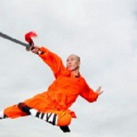 Chinese fugtive-turned-actor Ji Siguang while playing a Buddhist monk in Shaolin Tigers