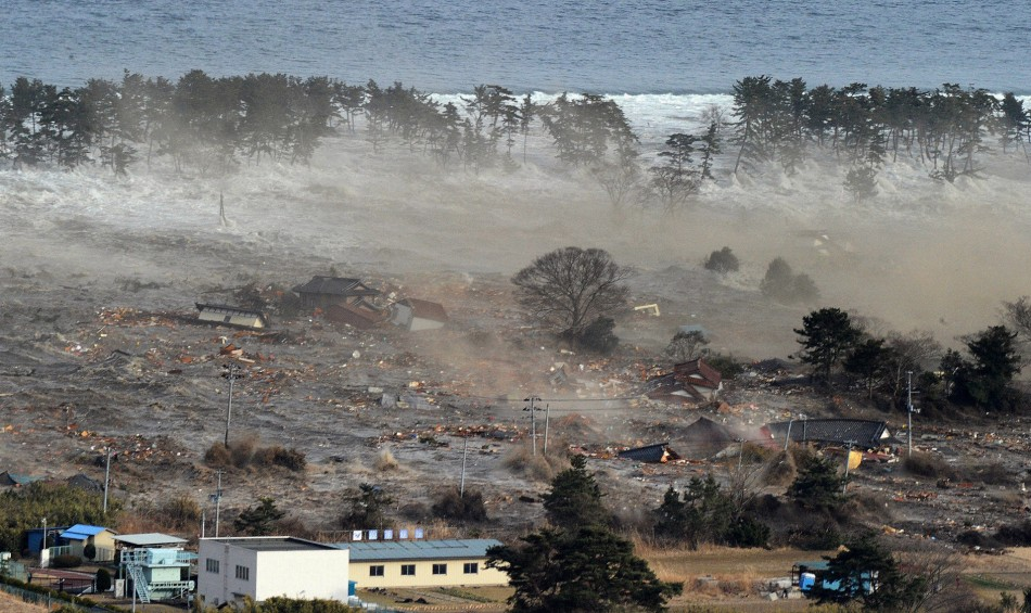 Houses are swept by a tsunami in Natori City in northeastern Japan March 11, 2011.