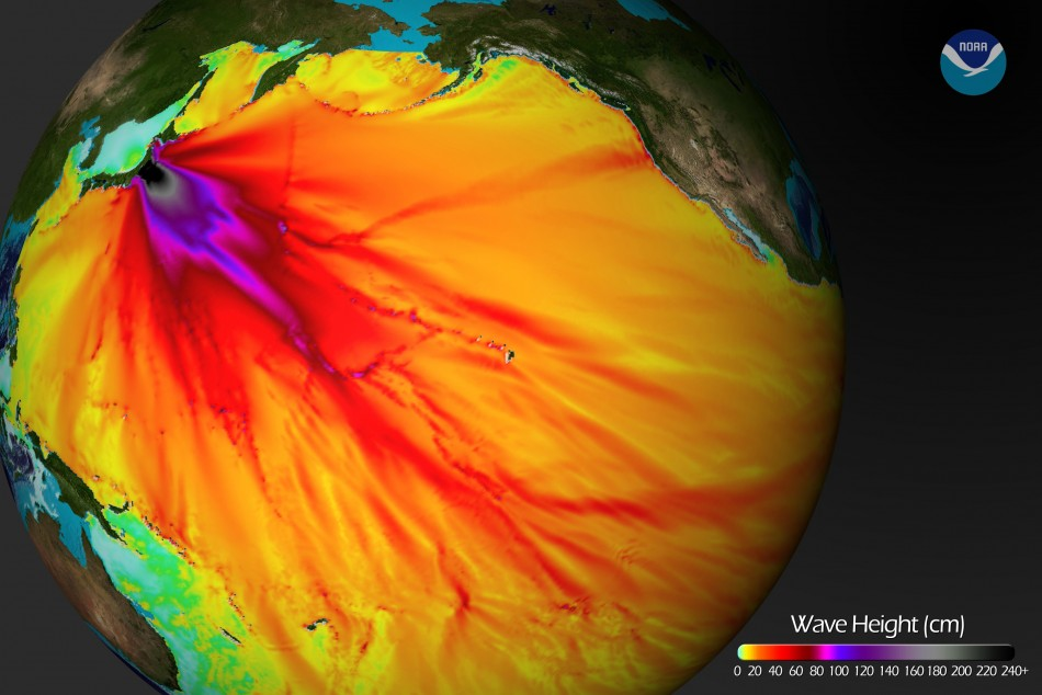 An energy map provided by the National Oceanic and Atmospheric Administration (NOAA) shows the intensity of the tsunami