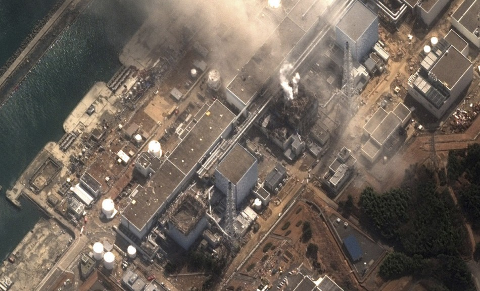 The No.3 nuclear reactor of the Fukushima Daiichi nuclear plant at Minamisoma is seen burning