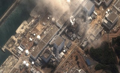The No.3 nuclear reactor of the Fukushima Daiichi nuclear plant at Minamisoma is seen burning