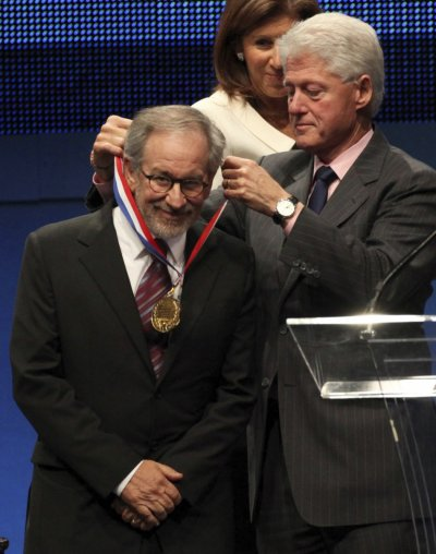 Steven Spielberg and Former U.S. President Bill Clinton