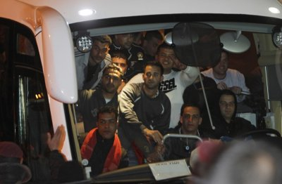 Bus carrying prisioners arrive at Ramallah