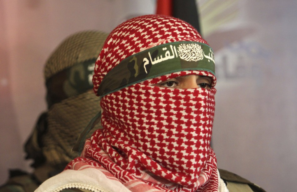 Hamas members at a news conference in Gaza