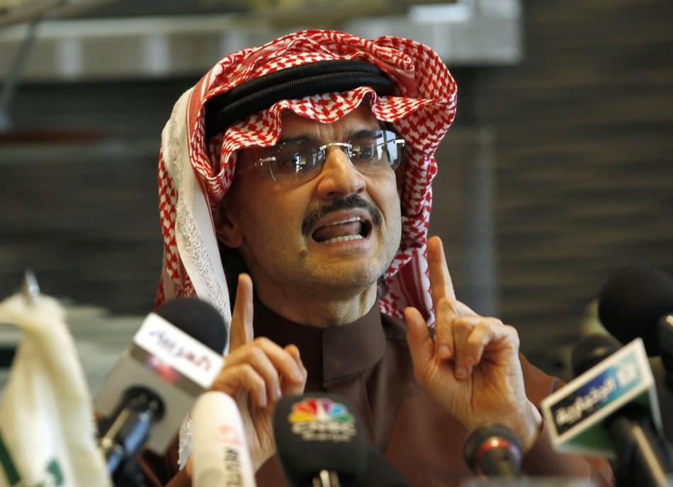 Saudi Prince Alwaleed bin Talal speaks during a news conference in Riyadh