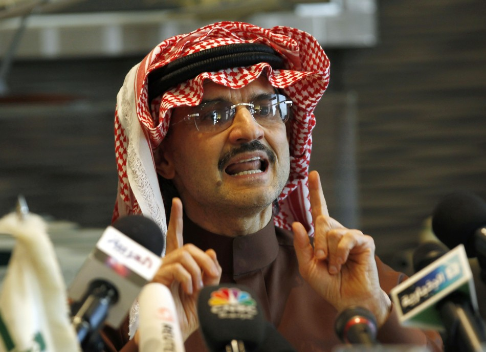 Saudi Prince Alwaleed bin Talal speaks during a news conference in Riyadh
