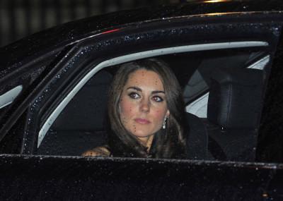 Kate Middleton Dazzles in Black Strapless Alexander McQueen Gown