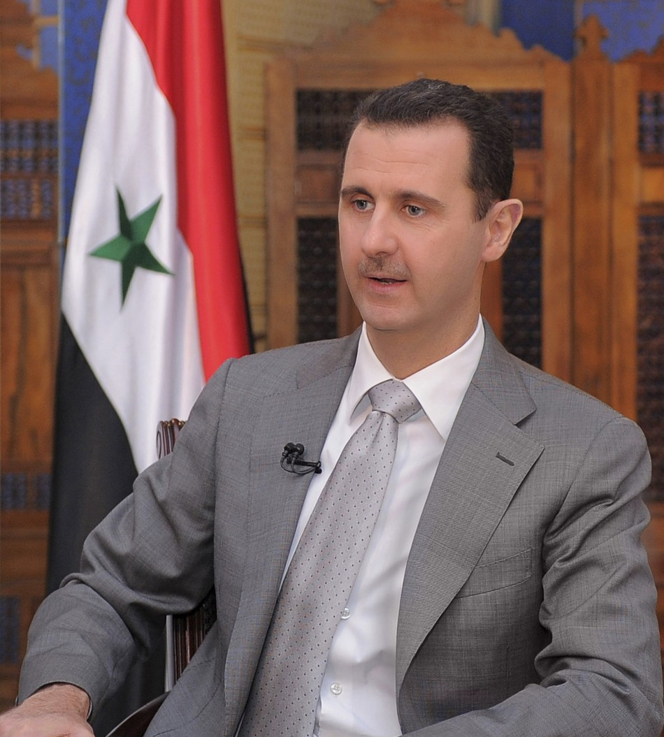Syria's President Bashar al-Assad is pictured during an interview with Russian television in Damascus