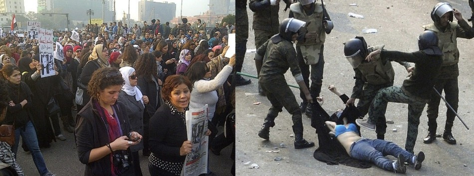 A demonstration was held in Tahrir Square in Cairo on Tuesday to highlight the military's use of excessive violence towards female protesters.