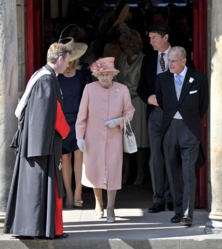 Queen Elizabeth II during Zara Phillips wedding
