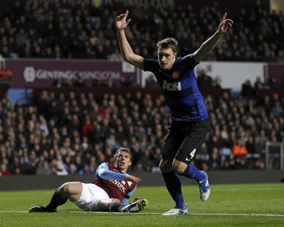 Manchester United's Phil Jones celebrates his goal against Aston Villa during their English Premier League soccer match in Birmingham
