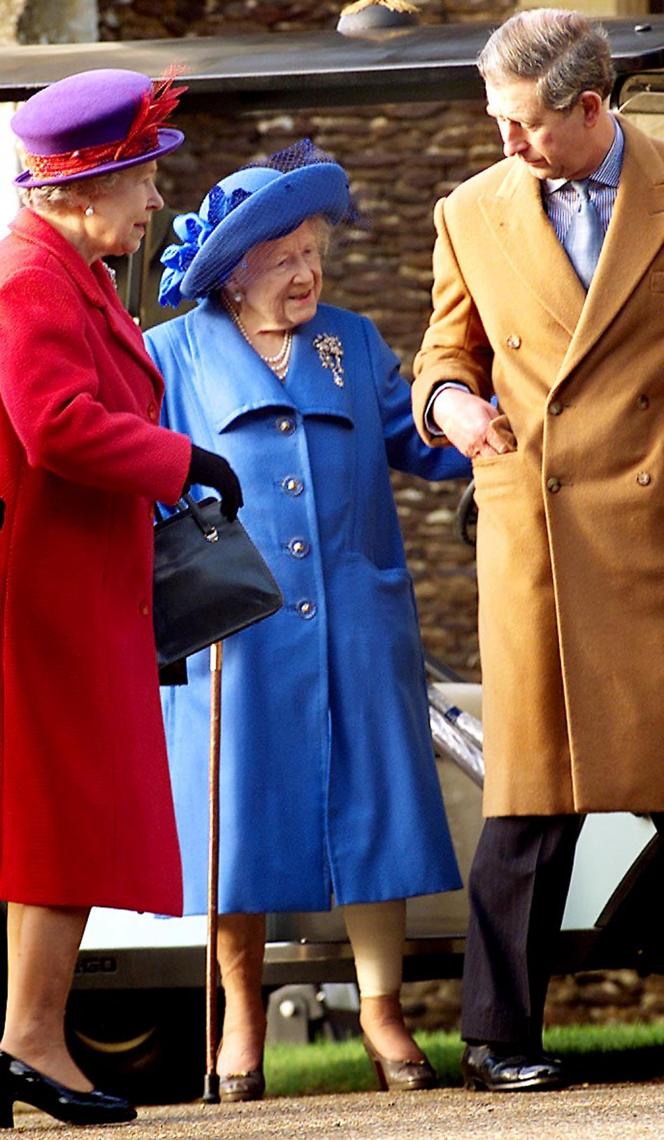 Queen Elizabeth left, Queen Mother centre and Prince Charles