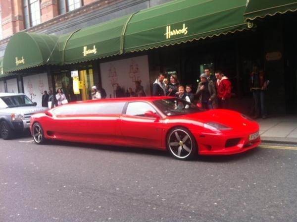 Outrageous Ferrari Stretch Limo Spotted Outside Harrods