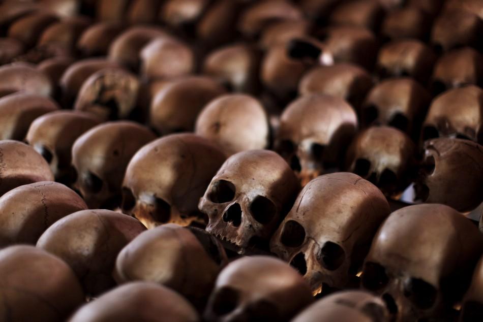 Skulls Of Rwandan Genocide Victims At Genocide Memorial Near Kigali