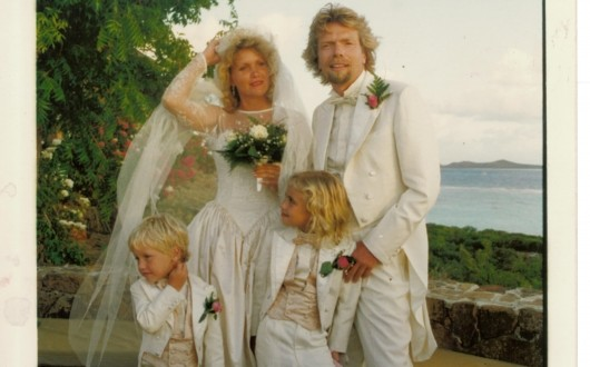 Richard Branson with wife and kids on wedding day